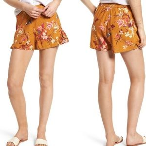 BP Nordstrom Floral Printed Linen Ruffle Shorts